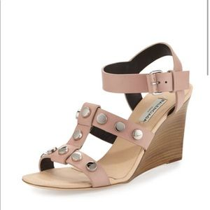 MSRP 875 Baleciaga New Studded Wedge Sandals Nude